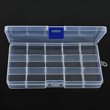 15 Lots Compartments Plastic Box Jewelry Bead Storage Container Craft Organizer