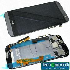 TOUCH SCREEN +LCD +FRAME X HTC ONE M8 VETRO DISPLAY ARGENTO NERO ORIGINALE