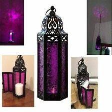 Purple Glass Lantern Hexagon Hanging Candle Holder Light Moroccan Vintage Patio