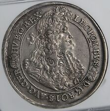 Hungary 1691 Leopold Hogmouth Broad Silver Thaler Ngc Au
