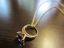 "925 Sterling Signed Vermeil Necklace 17"" w/Purple Stone Ring Pendant Signed 3Gr."