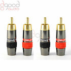 4 x Monster, Quality Gold Plated RCA Phono Plugs Audio / Video Solder Connector