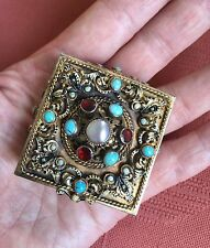 Antique Austro Hungarian Silver Gilt & Gemstone Studded Pill Box Snuff Box 1890