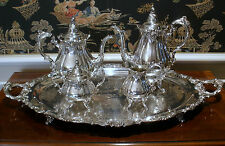 Wallace Baroque 5 piece Silverplate Tea Set - Footed Tray - NEAR MINT CONDITION