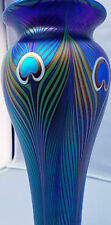 Orient flume artglass irridescent peacock vase by beyers signed