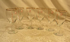 6 Irish Coffee Clear Glasses W/ Gold Rim Ingredients & Instructions on Goblets