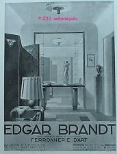 PUBLICITE EDGAR BRANDT FERRONNERIE D'ART LUSTRE LUMINAIRE  DE 1931 FRENCH AD PUB