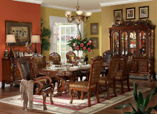 FORMAL DINING TABLE DOUBLE PEDESTAL CHERRY FINISH DRESDEN 7 PIECE SET
