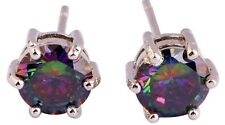 18K W GOLD EP 1.0CT MYSTIC RAINBOW TOPAZ STUD EARRINGS with clasps
