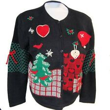 Cardinals in Evergreens Black Holiday Sweater cheesy LARGE NG140