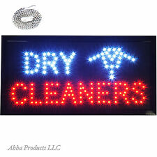 """LED 19x10"""" Dry Cleaners Alterations Wash Dry Fold Open Store Business Sign neon"""
