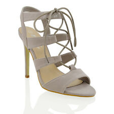 NEW WOMENS LACE UP STILETTO HIGH HEELS LADIES ANKLE STRAP CUT OUT PARTY SANDALS
