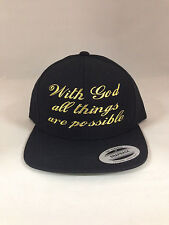 With God all things are possible snapback Hat Christian Cap Black, Metallic Gold
