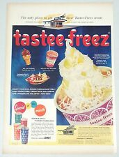1956 TASTEE-FREEZ Ice Cream Store Vintage Print ad  Banana Split-Hawaiian Sundae