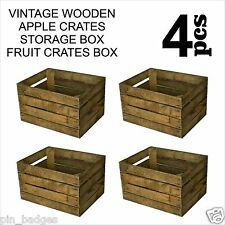 4pcs VINTAGE WOODEN APPLE CRATES STORAGE BOX FRUIT CRATES BOX