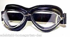 Oldtimerbrille  Motoradbrille Fliegerbrille Leder schwarz Handmade Scheiben klar
