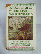 THE OBSERVER'S BOOK OF BRITISH WILD ANIMALS 1953 by WJ STOKOE COLOUR ILLUSTRATED