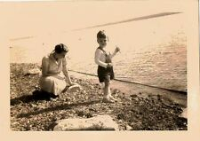Antique Vintage Photograph Mom and Little Boy Playing By The Ocean 1938