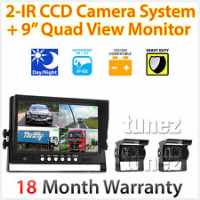 "9"" Rearview Monitor Caravan 2 Reversing 24V 12V Camera 4PIN System Kit CCD Truck"