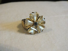 Beautiful Gold Tone Cocktail Ring Stretch Clear Gold Rhinestones Flower Shape