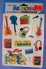 PAPER MAGIC NEON ROCK DRUMS MIC KEY BOARDS GUITARS 52 STICKERS 4 SHEETS