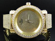 Men Yellow Finish Rocky Bezel Diamond Maxx Lab Diamond Techno KC Joe Rodeo Watch