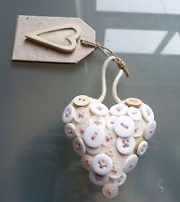 East of India Heart Button New Cream Padded Pink Hanging Gift Present Girls Cute
