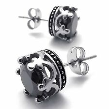 MENDINO Vintage Men's Stainless Steel Stud Earrings CZ Royal Crown Round Black