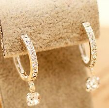 Free shipping Pretty Womens 9K White Gold Filled AAA CZ Earrings Hoop Y-E502-a