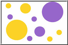 40 POLKA DOTS vinyl wall art stickers decals circles YELLOW and Lavender