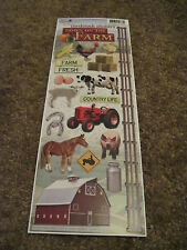 "Scrapbooking Stickers Cardstock Paper House 13"" Farm Animals Barn Cow Horse Pig"