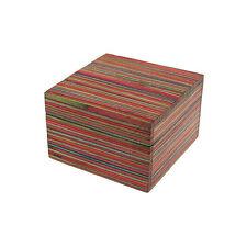 Fair Trade Handgemacht Dhari Klein Gestreift Mango Holz Kiste