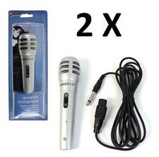 2X WIRED DYNAMIC DJ PA MICROPHONE VOCAL KARAOKE MIC SILVER WITH APPROX 3M CABLE