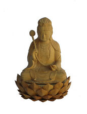 Chinese Sandalwood Carved Kwan Yin Lotus Base Statue cs735-10