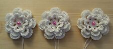 3 PS Handmade Crochet Flower Cucito Applique Decorazione
