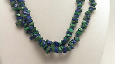 "*Authentic* India Lapis Lazuli and Malachite Chip Bead Crystal 34"" Necklace #81"