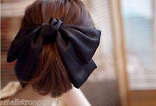Korean Women Black Satin Ribbon Bow Hair Clip Barrette Ponytail Holder