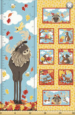 Susybee's Bruce, the Moose Growth Chart 100% cotton fabric by the panel