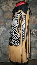 New Hair on Cowhide Zebra Print Basket Weave Double Fringe Conchos Chinks Chaps