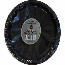 6 x OVAL BLACK PLASTIC PLATES PLATTERS BIRTHDAY BBQ PARTY TABLEWARE DISPOSABLE