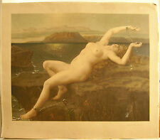Andromède nue enchâinée à son rocher gravure Andromeda chained naked Print c1888