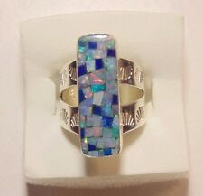 Jay King DTR 925 Sterling Silver Mosaic Fire Opal Ring Size 5.5
