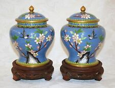 "ANTIQUE 1920/30'S EXQUISITE PAIR OF CHINESE CLOISONNÉ 7"" FLORAL JARS WITH STANDS"
