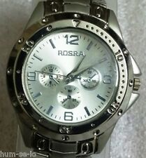 ROSRA BRAND CHRONOGRAPH STYLED MEN'S WRIST WATCH -SILVER S -ITEM # RO101