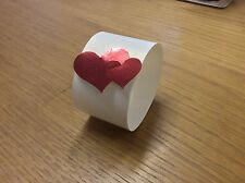 15 NAPKIN-SERVIETTE RINGS WHITE WITH HEARTS. CUTE MIRROR DOUBLE HEARTS