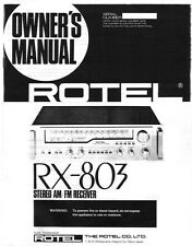 Rotel RX-803 Receiver Owners Manual