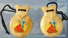 New Spanish Flamenco Castanets, Natural Wood with Authentic Pictures