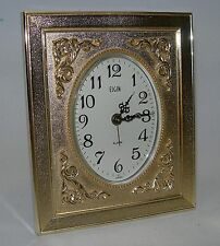 Vintage Elgin Wind Up Desk Alarm Clock Gold Tone Picture Frame Case - Japan