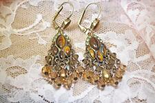 SORRELLI CHANDELIER EARRINGS Tiger Eye & Crystal With Rhinestone Accents