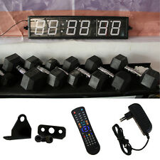Crossfit Interval Timer 6 Digit Large Wall Clock Blue Red Remote WOD Train Gym
